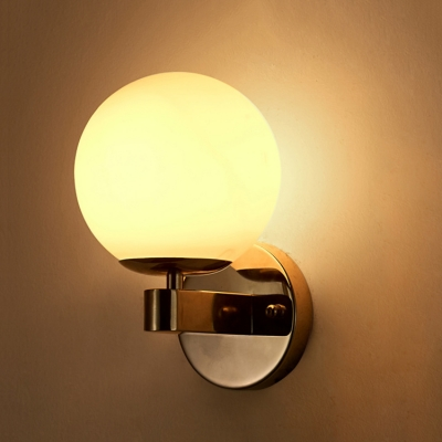 Frosted Glass Globe Wall Light Modernism Simple 1 Head Art Deco Wall Mount Light in Gold