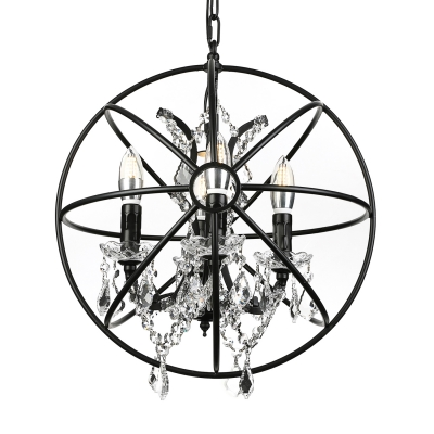 Industrial LED Orb Chandelier with Shining Crystals in Wrought Iron Style, 17'' Wide, Four Light