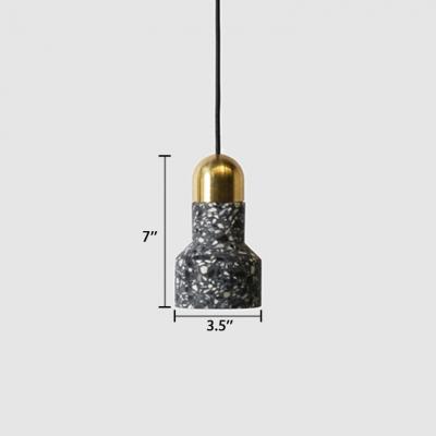 LED Pendant Light Modern Architectural Stone Suspended Light in Black for Bedside Bar