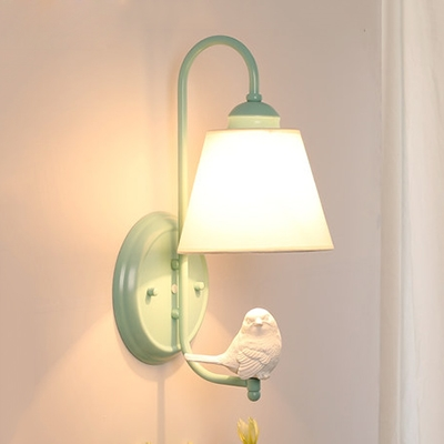 Light Green Curved Arm Wall Lamp with Bird Rustic Style Fabric Single Head Wall Sconce