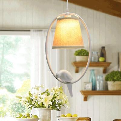 Lodge Style Circular Ring Drop Light Beige Fabric Shade Single Light Hanging Lamp with Bird