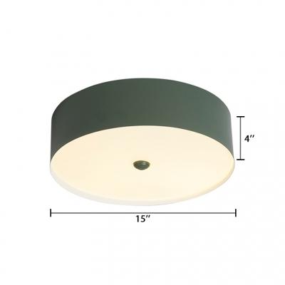 Metallic Drum LED Flush Mount Light Modern Fashion Children Bedroom Ceiling Fixture in Gray/Green