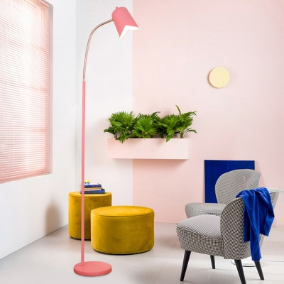Metallic Floor Light with Dome Shade Blue/Pink/Yellow Single Light Standing Light for Baby Room