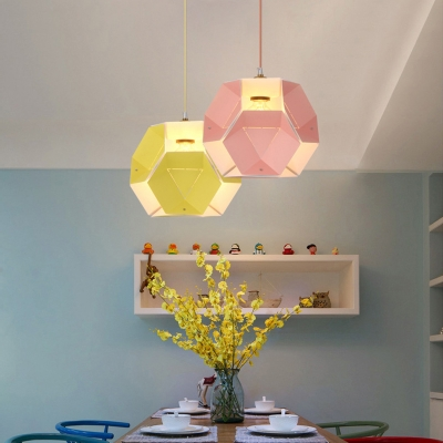 Nordic Colorful Polygon Hanging Light Steel 1 Bulb Suspended Lamp for Children Room