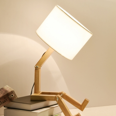 Novelty Wooden Table Light With Drum White Shade 1 Head Reading