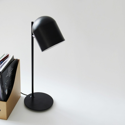 Single Light Cup Desk Lamp Metal Rotatable Table Light in Black for Living Room Hallway