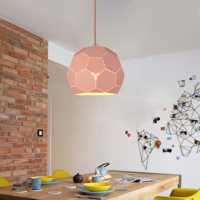 Single Light Football Drop Light Contemporary Steel Art Deco Suspended Lamp in Green/Pink