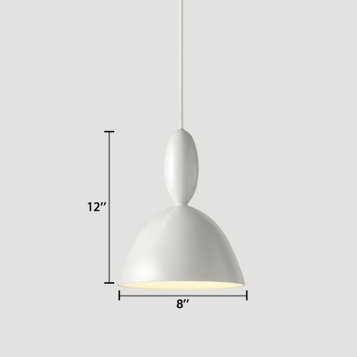 Small White Dome Suspended Lamp Elegant Modern Metal Drop Light with On/off Push Switch