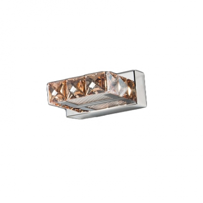 Square LED Makeup Light Contemporary Stainless 1/2/3/4 Lights Vanity Light with Crystal