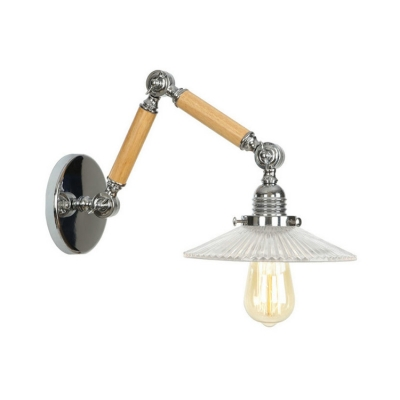 Swing Arm Wall Mount Fixture Contemporary Ribbed Glass Single Head Wall Light in Chrome