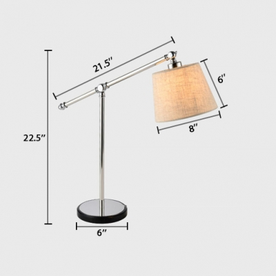 Tapered Desk Light with Beige Fabric Shade Modern Fashion Single Light Table Light