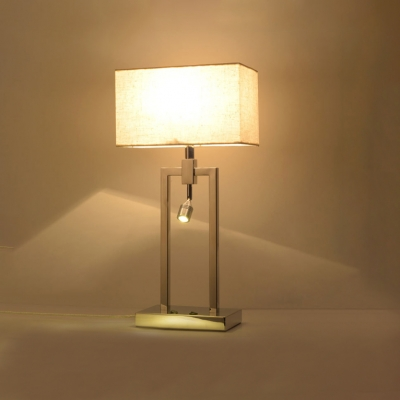 1 Light Rectangle Desk Light Modernism Beige Fabric Shade Table Lamp with Spotlight