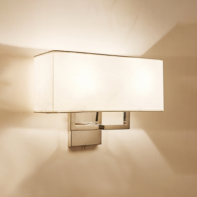 2 Heads Armed Wall Lamp with White Fabric Shade Modernism Sconce Light for Staircase
