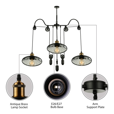 3 Light Pulley Mirrored Adjustable Large LED Chandelier with Saucer Shade