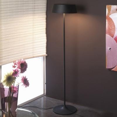 3 Light Round Shade Floor Light Metal Modern Simple Living Room Lighting in Black