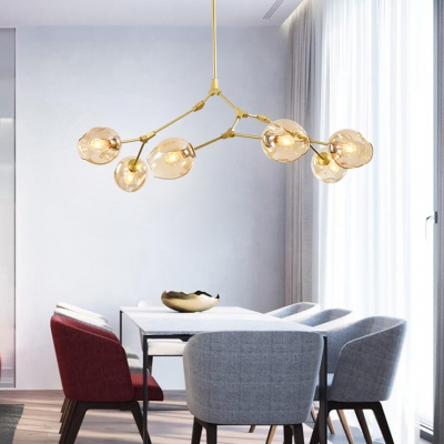 6 Light Ball Ceiling Light Modern Mouth Blown Glass Adjustable Pendant Light in Cognac