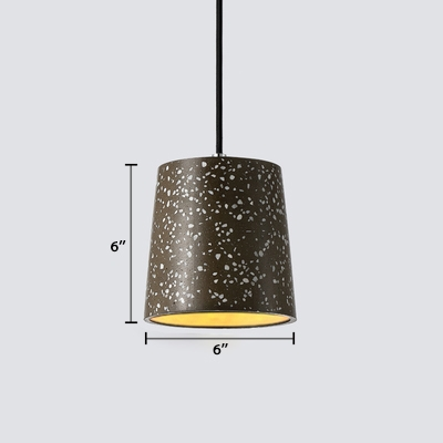 Adjustable Cylindrical Pendant Light Contemporary Concrete Ceiling Lamp in Gray