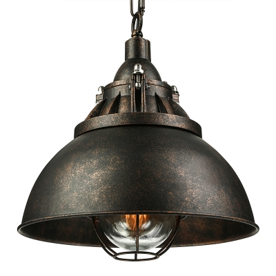 Age Wrought Iron Black/Rust Industrial Barn Cage Pendant Light in Retro Style