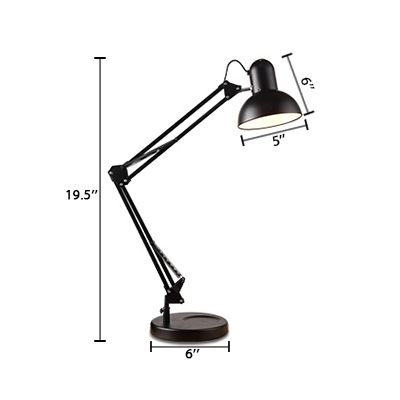 Arm Adjustable Desk Lamp Contemporary Steel 1 Light Desk Lamp in Black for Library
