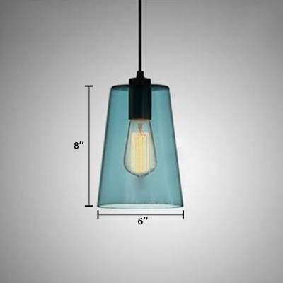 Blue Glass Geometric Drop Light Minimalist Single Light Suspended Light for Bedroom