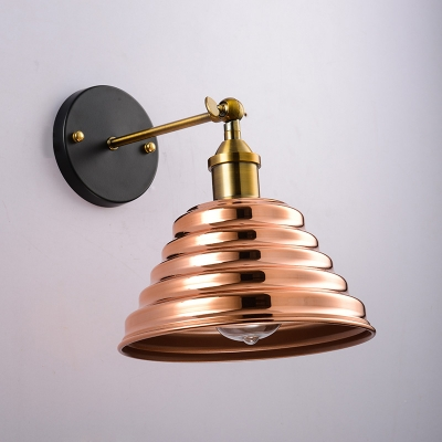 Brass Finish Babel Wall Light Contemporary Metal 1 Light Wall Mount Fixture for Balcony