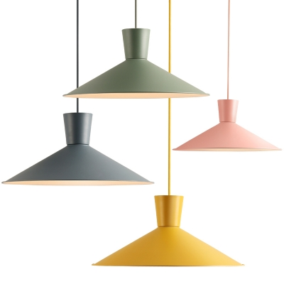 Colorful Macaron Conical Drop Light Metal 1 Light Suspension Light for Children Room