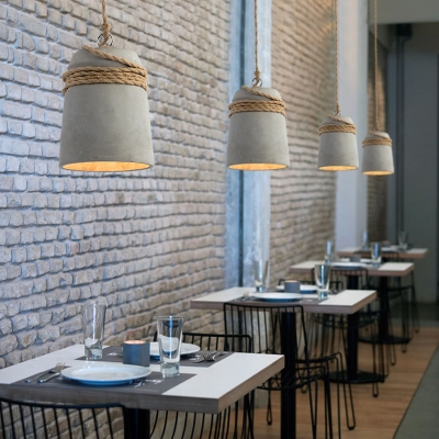 Concreted Down LED Pendant Light Industrial Simplicity Ceiling Light with Hemp Rope
