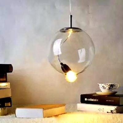 Fiddlehead Hanging Light Simple Hand Blown Glass Decorative Suspended Lamp for Bedroom