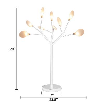Glass Branch Table Light Modern Lodge Multi Light Night Light in White for Bedroom Bedside