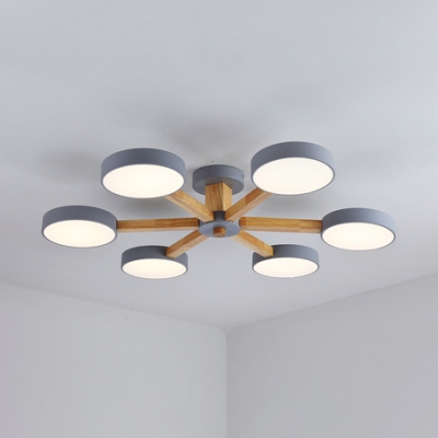 Gray Branching Chandelier with Round Shade Wooden 3/6 Lights Semi Flush Mount for Living Room