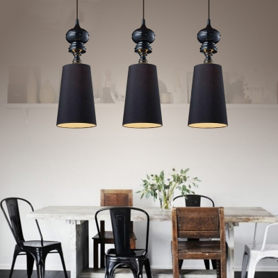 Horn Pendant Lamp with Black Fabric Shade Mid Century Modern 1 Light Hanging Ceiling Lamp