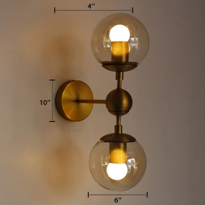 Industrial Modern Globe Wall Lamp Aluminum 2 Light Art Deco Wall Sconce for Hallway