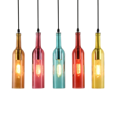 Industrial Pendant Light Liquor Bottle Repurposed