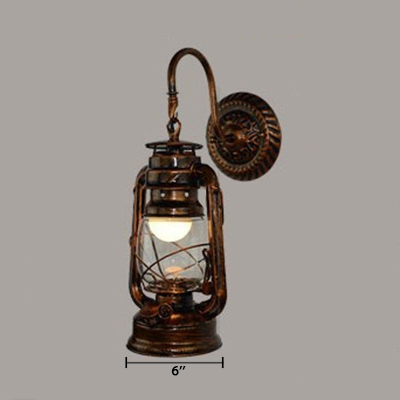 Lantern Style Wall Sconce with Gooseneck Retro Style Metallic 1 Bulb Wall Light Fixture in Antique Copper