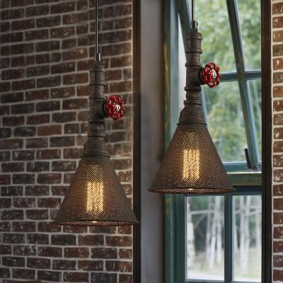Mottled Rust 1 Light Mini Pipe LED Pendant with Metal Mesh