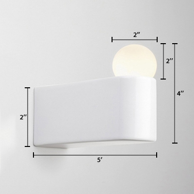 Opal Glass Ball Wall Mount Fixture Designers Style 1 Bulb Sconce Light in White for Foyer