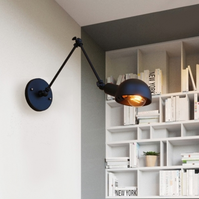 Pewter Swing Arm Lamp LED Light with Metal Shade