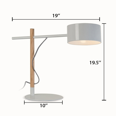Simplicity Round Shade Table Light Steel Elegant LED Table Light for Office Library
