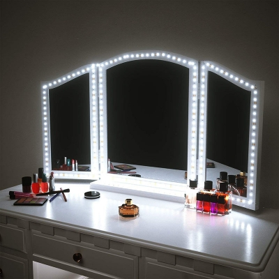 Stick-on LED Strip Light Brightness Adjustable DIY Vanity Mirror Lights with USB Charger