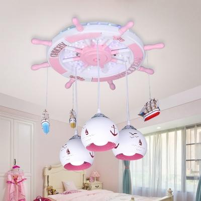 Wooden Round Rudder Hanging Lamp Nautical Girls Bedroom 3 Lights Ceiling Light in Chrome Finish