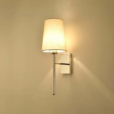 1 Head Cone Wall Lamp With Fabric Shade Contemporary Sconce In