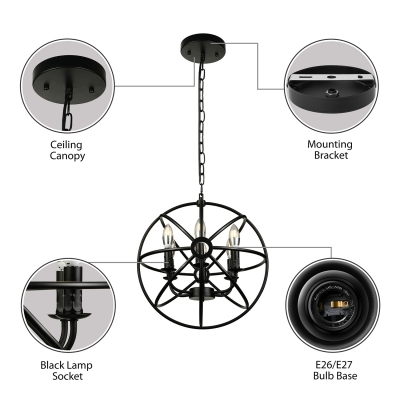 6 Light LED Orb Chandelier in Wrought Iron Industrial Style Restaurant Kitchen Globe Pendant Light in Black