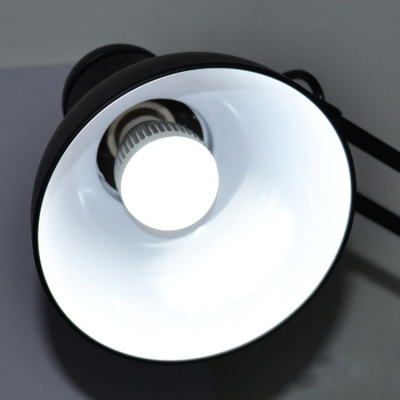 Black Finish Semicircle Desk Light Contemporary Steel Single Light Desk Lamp with Swing Arm