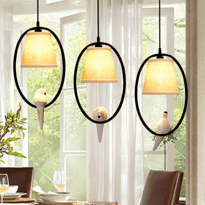 Circular Ring Drop Light with Bird Decoration Corridor Bedroom Metal 3 Lights Pendant Light in Black