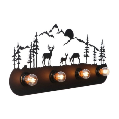 Elk Design Lighting Fixture Lodge Style Industrial Wrought Iron 4 Heads Sconce Light in Black Finish, HL499264