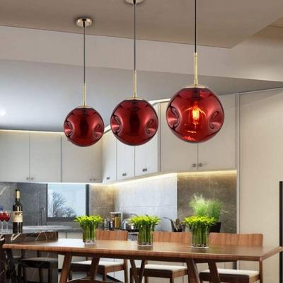 Glass Globe Pendant Light  Post Modern 1 Head Art Deco Suspended Lamp in Red for Restaurant