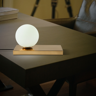 Gold Sphere Desk Light Designers Style Frosted Glass 1 Light Table Light with Metal Base