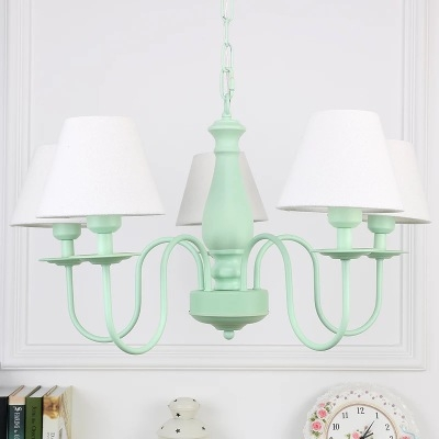 Green Finish Cone Hanging Chandelier Simplicity Fabric Shade 5 Lights Suspension Light