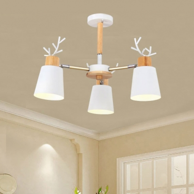 Horn Shade 3/6 Lights Chandelier with Antler Decoration White Metal