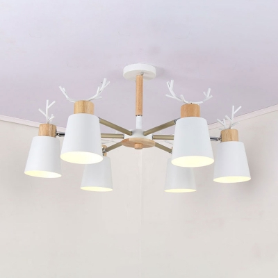 Horn Shade 3/6 Lights Chandelier with Antler Decoration White Metal Hanging Lamp for Children Bedroom
